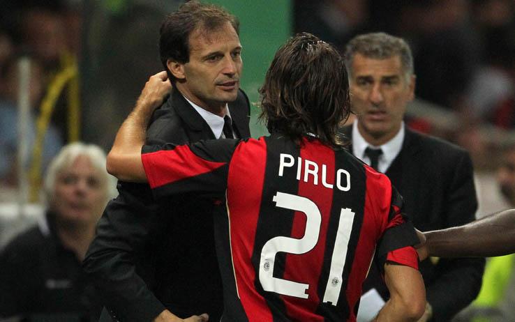 Massimiliano Allegri e Andrea Pirlo ai tempi del Milan